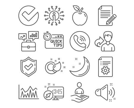 Set of Technical documentation, Investment and Quick tips icons. Paint brush, Article and Loud sound signs. Business portfolio, Verify and Recruitment symbols. Vector