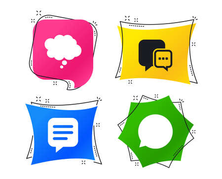 Chat icons. Comic speech bubble signs. Communication think symbol. Geometric colorful tags. Banners with flat icons. Trendy design. Vector