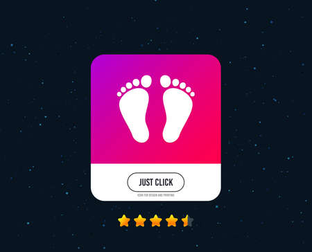 Child pair of footprint sign icon. Toddler barefoot symbol. Web or internet icon design. Rating stars. Just click button. Vector 向量圖像