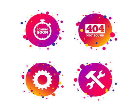 Coming soon icon. Repair service tool and gear symbols. Hammer with wrench signs. 404 Not found. Gradient circle buttons with icons. Random dots design. Vector Illustration