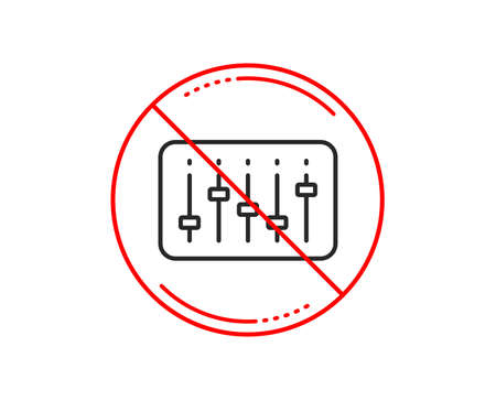 No or stop sign. DJ controller line icon. Music sound sign. Musical device symbol. Caution prohibited ban stop symbol. No  icon design.  Vector