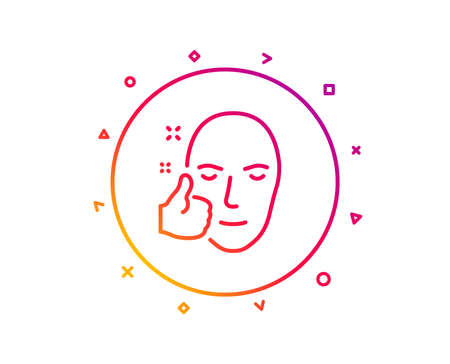 Healthy face skin line icon. Good care sign. Like symbol. Gradient pattern line button. Healthy face icon design. Geometric shapes. Vector Illustration