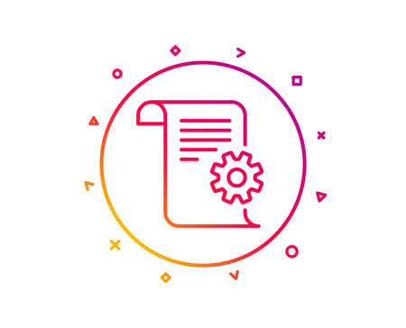 Technical documentation line icon. Instruction sign. Gradient pattern line button. Technical documentation icon design. Geometric shapes. Vector