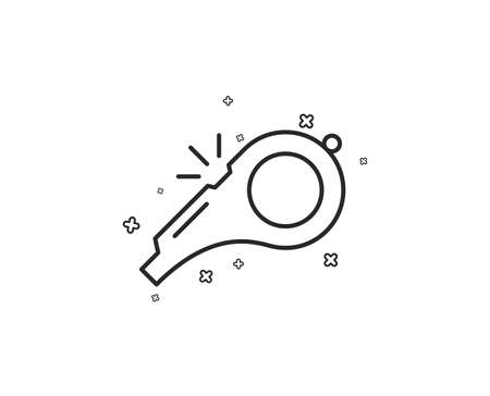 Whistle line icon. Kick-off sign. Referee tool symbol. Geometric shapes. Random cross elements. Linear Whistle icon design. Vector  イラスト・ベクター素材