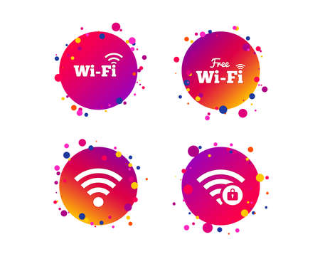 Free Wifi Wireless Network icons. Wi-fi zone locked symbols. Password protected Wi-fi sign. Gradient circle buttons with icons. Random dots design. Vector