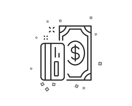 Money line icon. Payment methods sign. Credit card symbol. Geometric shapes. Random cross elements. Linear Payment icon design. Vector Illustration