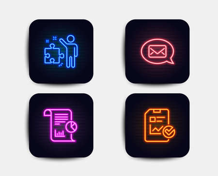 Neon glow lights. Set of Report, Messenger and Strategy icons. Report checklist sign. Work analysis, New message, Business plan. Sales growth file.  Neon icons. Glowing light banners. Vector