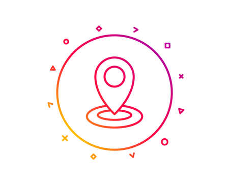 Location line icon. Map pointer sign. Gradient pattern line button. Location icon design. Geometric shapes. Vector Illustration