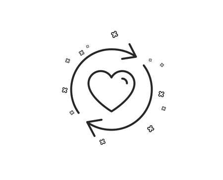 Actualizar el icono de la línea de relaciones. Símbolo de citas de amor. Signo del día de San Valentín. Formas geométricas. Elementos cruzados aleatorios. Diseño de icono de relaciones de actualización lineal. Vector Ilustración de vector