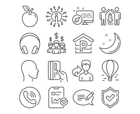 Set of Air balloon, Salary employees and Partnership icons. Report checklist, Head and Parking signs. Headphones, Payment card and Message symbols. Flight travel, People earnings, Business startup Illustration