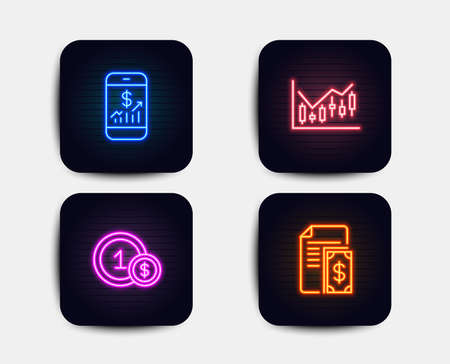 Neon glow lights. Set of Usd coins, Mobile finance and Financial diagram icons. Payment sign. Cash payment, Phone accounting, Candlestick chart. Cash money.  Neon icons. Glowing light banners. Vector Illustration
