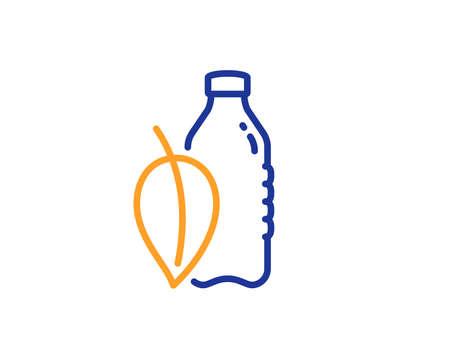Water bottle line icon. Soda aqua drink sign. Mint leaf symbol. Colorful outline concept. Blue and orange thin line color Water bottle icon. Vector Illustration