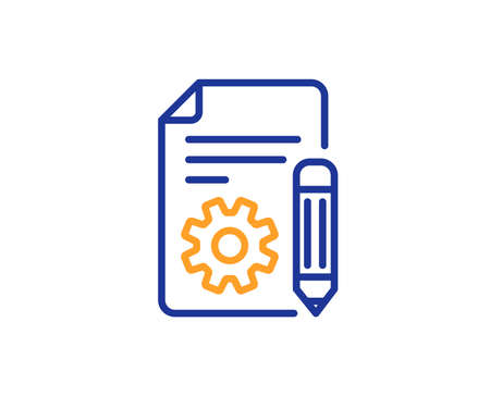 Documentation line icon. Technical instruction sign. Colorful outline concept. Blue and orange thin line color icon. Documentation Vector Vettoriali