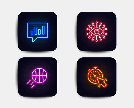 Neon set of Basketball, Artificial intelligence and Analytical chat icons. Timer sign. Sport ball, All-seeing eye, Communication speech bubble. Time management. Neon icons. Vector Illustration