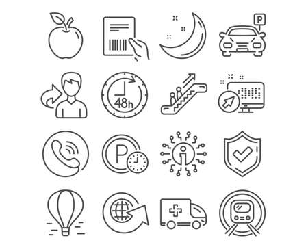 Set of Metro subway, Escalator and Parking icons. 48 hours, Ambulance emergency and Air balloon signs. Parcel invoice, Parking time and World globe symbols. Underground, Elevator, Car park. Vector Ilustração
