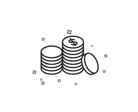 Coins money line icon. Banking currency sign. Cash symbol. Geometric shapes. Random cross elements. Linear Banking money icon design. Vector Иллюстрация