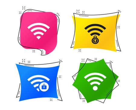 Iconos de red inalámbrica Wifi. Símbolos de zona Wi-Fi bloqueada. Señal Wi-Fi protegida por contraseña. Etiquetas de colores geométricos. Banners con iconos planos. Diseño de moda. Vector Ilustración de vector
