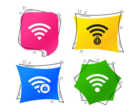 Wifi Wireless Network icons. Wi-fi zone locked symbols. Password protected Wi-fi sign. Geometric colorful tags. Banners with flat icons. Trendy design. Vector Vettoriali