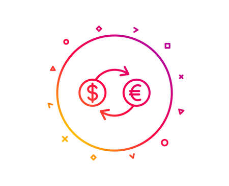 Money exchange line icon. Banking currency sign. Euro and Dollar Cash transfer symbol. Gradient pattern line button. Currency exchange icon design. Geometric shapes. Vector