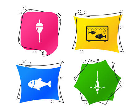 Fishing icons. Fish with fishermen hook sign. Float bobber symbol. Aquarium icon. Geometric colorful tags. Banners with flat icons. Trendy design. Vector