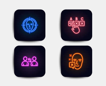 Neon set of Correct checkbox, Communication and Face detect icons. Face declined sign. Answer, Users talking, Select target. Identification error. Neon icons. Glowing light banners