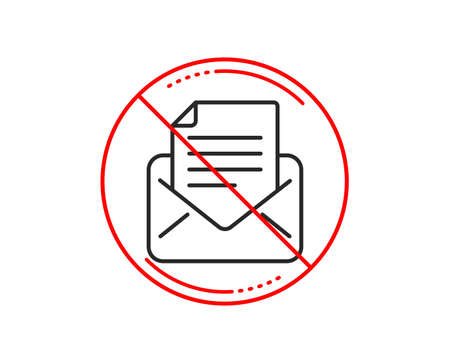 No or stop sign. Mail correspondence line icon. Read Message sign. E-mail symbol. Caution prohibited ban stop symbol. No  icon design.  Vector