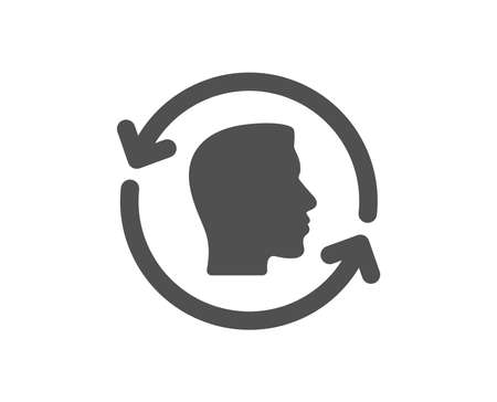 Face scanning repeat icon. Face id update sign. Head symbol. Quality design element. Classic style icon. Vector Ilustração