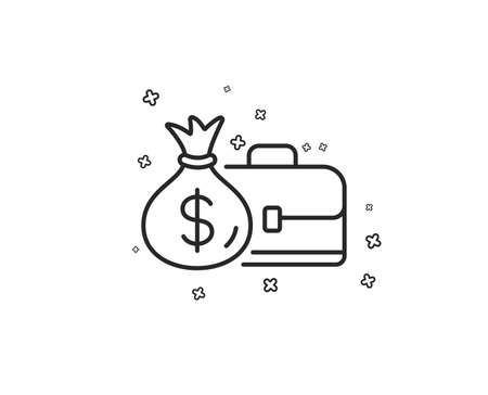 Business case line icon. Portfolio and Salary symbol. Diplomat with Money bag sign. Geometric shapes. Random cross elements. Linear Salary icon design. Vector