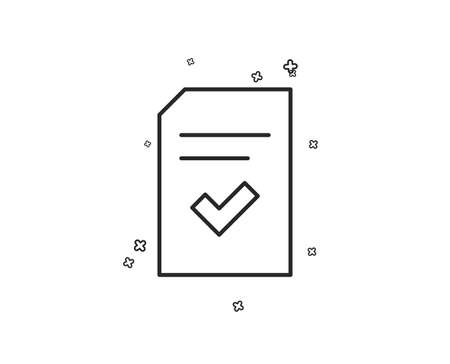 Checked Document line icon. Information File with Check sign. Correct Paper page concept symbol. Geometric shapes. Random cross elements. Linear Checked file icon design. Vector