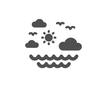 Travel sea icon. Sun, clouds and waves sign. Summer holidays symbol. Quality design element. Classic style icon. Vector Иллюстрация