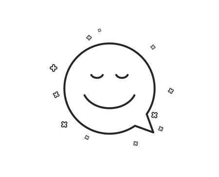 Comic speech bubble with Smile line icon. Chat emotion sign. Geometric shapes. Random cross elements. Linear Smile icon design. Vector Ilustração