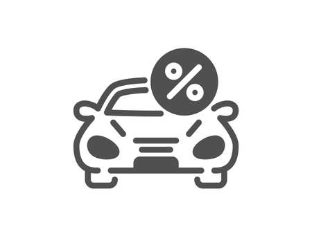 Car leasing percent icon. Transport loan sign. Credit percentage symbol. Quality design element. Classic style icon. Vector Illustration