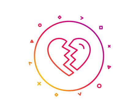 Break up Love line icon. Divorce sign. Valentines day symbol. Gradient pattern line button. Break up icon design. Geometric shapes. Vector