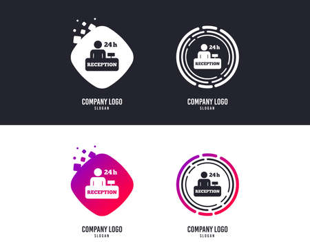 Logotype concept. Reception sign icon. 24 hours Hotel registration table with administrator symbol. Logo design. Colorful buttons with icons. Vector 向量圖像