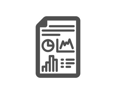 Report document icon. Column graph sign. Growth diagram, pie chart symbol. Quality design element. Classic style icon. Vector 일러스트