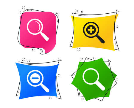 Magnifier glass icons. Plus and minus zoom tool symbols. Search information signs. Geometric colorful tags. Banners with flat icons. Trendy design. Vector