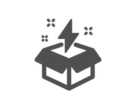 Out of the box icon. Creativity sign. Gift box with lightning bolt symbol. Quality design element. Classic style icon. Vector