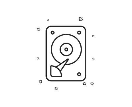 HDD icon. Hard disk storage sign. Hard drive memory symbol. Geometric shapes. Random cross elements. Linear HDD icon design. Vector