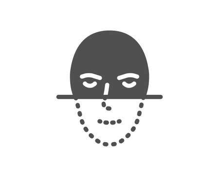 Face recognition icon. Faces biometrics sign. Head scanning symbol. Quality design element. Classic style icon. Vector