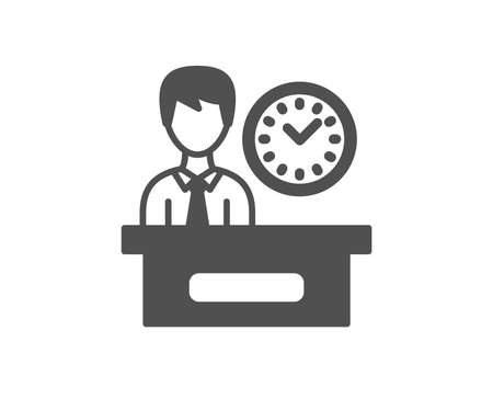 Presentation time icon. Watch sign. Quality design element. Classic style icon. Vector