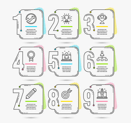 Infographic template with numbers 9 options. Set of Audit, Best manager and Management icons. Reward, Victory and Trophy signs. Pencil, Target and Start business symbols. Vector