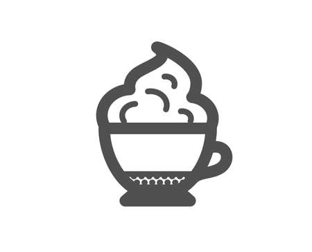 Cappuccino coffee with Whipped cream icon. Hot drink sign. Beverage symbol. Quality design element. Classic style icon. Vector