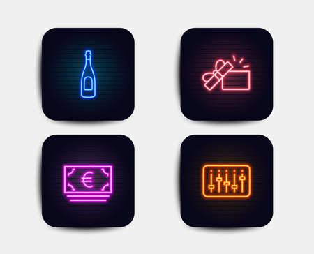Neon glow lights. Set of Euro currency, Opened gift and Champagne icons. Dj controller sign. Eur banking, Present box, Celebration drink. Musical device.  Neon icons. Glowing light banners. Vector