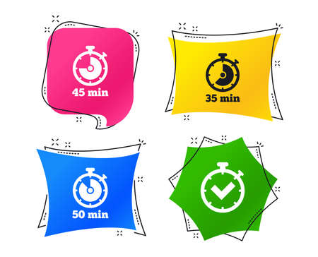 Timer icons. 35, 45 and 50 minutes stopwatch symbols. Check or Tick mark. Geometric colorful tags. Banners with flat icons. Trendy design. Vector
