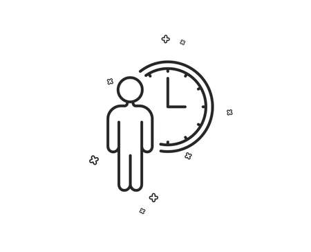 Person waiting line icon. Service time sign. Clock symbol. Geometric shapes. Random cross elements. Linear Waiting icon design. Vector Illustration