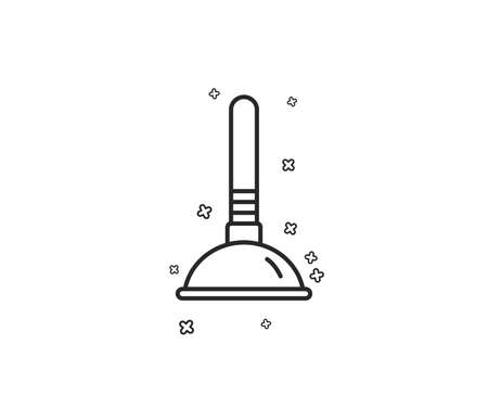 Cleaning plunger line icon. Ð¡leaning of pipe clogs symbol. Housekeeping equipment sign. Geometric shapes. Random cross elements. Linear Plunger icon design. Vector Illustration