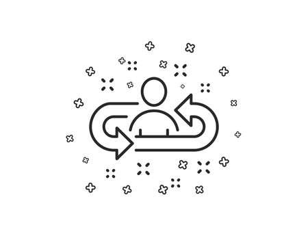 Recruitment line icon. Business management sign. Employee or human resources symbol. Geometric shapes. Random cross elements. Linear Recruitment icon design. Vector