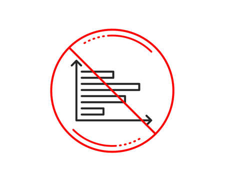 No or stop sign. Horizontal chart line icon. Column graph sign. Market analytics symbol. Caution prohibited ban stop symbol. No  icon design.  Vector