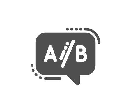 Ab testing icon. Ui test chat bubble sign. Quality design element. Classic style icon. Vector