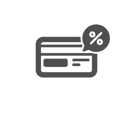 Credit card icon. Banking Payment card with Discount sign. Cashback service symbol. Quality design element. Classic style icon. Vector Illustration